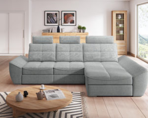 Alpina Corner Sofa in grey Front View